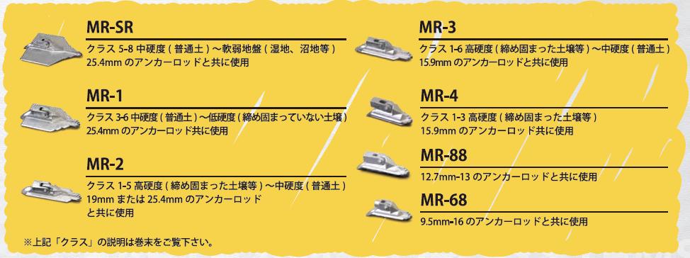 マンタレイ・アースアンカー 商品ラインナップ
